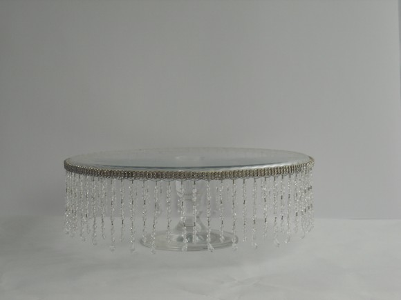 Crystal Drop Glass Cake Stand