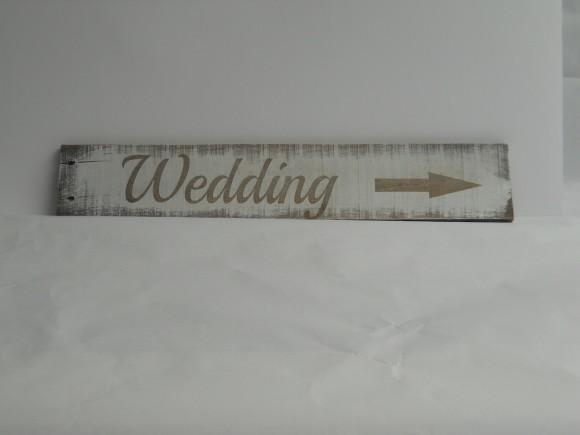 White washed Timber Wedding Sign